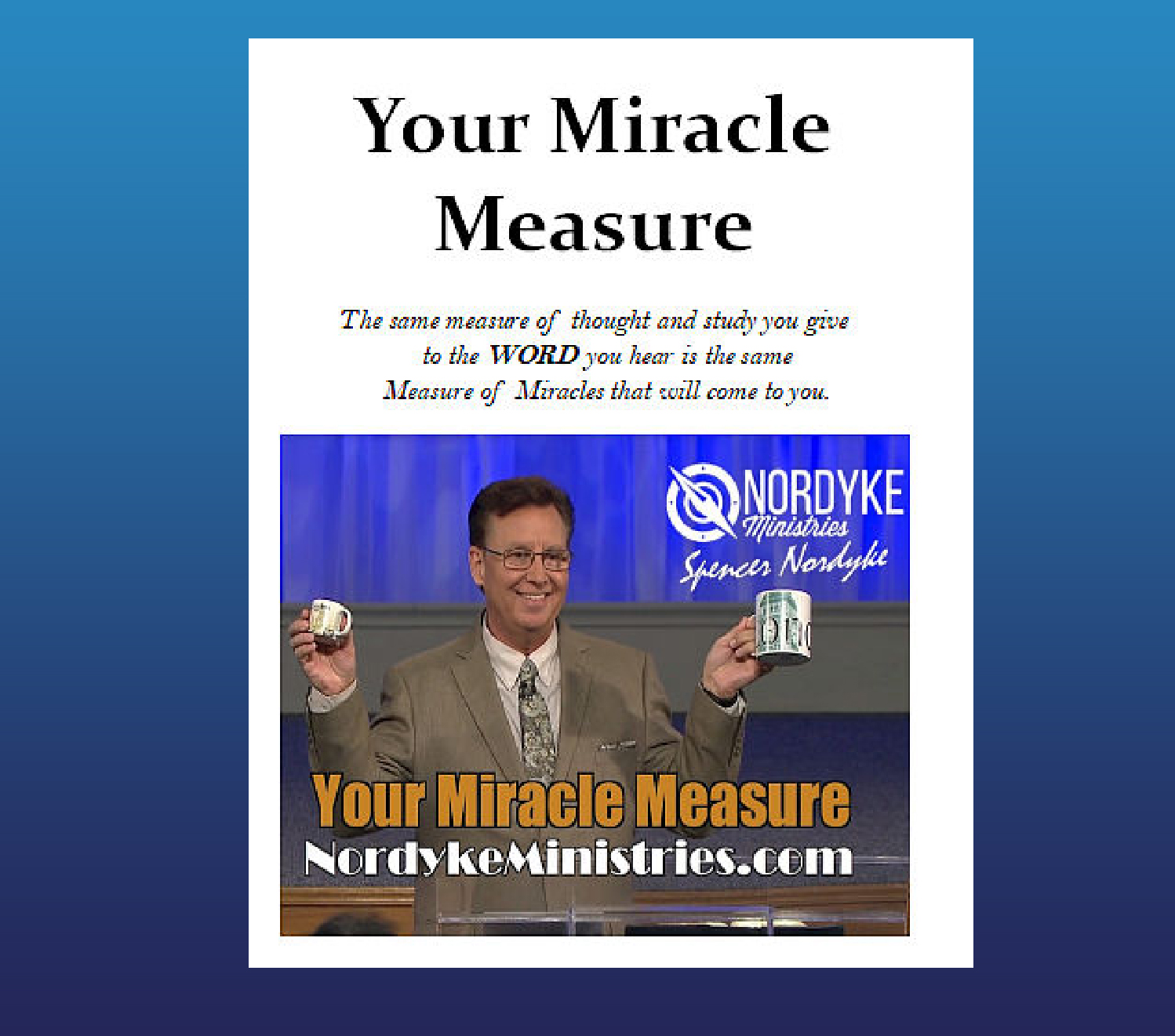 Your Miracle Measure DVD
